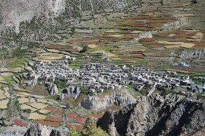 A village in the valley of Manang, Nepal