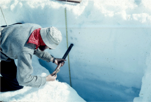 A researcher sampling ice on a glacier