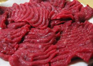 Basashi (raw horsemeat) from Towada. Photograph taken by Richard W.M. Jones and released under the GFDL. This file is licensed under the Creative Commons Attribution-Share Alike 3.0 Unported license.