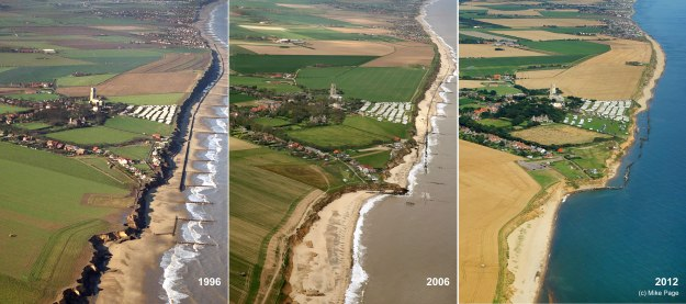 Happisburgh in 1996, 2006 and 2012 during which time it has lost a number of sea front properties (copyright Mike Page)