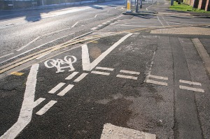 Complex Cycle Lane Markings. I'm glad I was walking! At the junction of City Road and Middle Street, Beeston.  The copyright on this image is owned by David Lally and is licensed for reuse under the Creative Commons Attribution-ShareAlike 2.0 license.