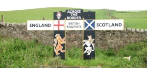 Image of the border sign between England and Scotland