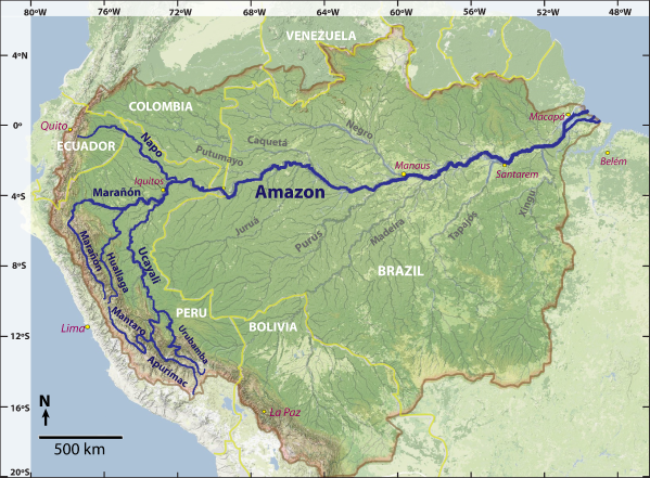 The Amazon River basin, including dark traces for each proposed source rivers: Napo, Marañón, Huallaga, Urubamba, Apurímac, and Mantaro.  Source: James Contos