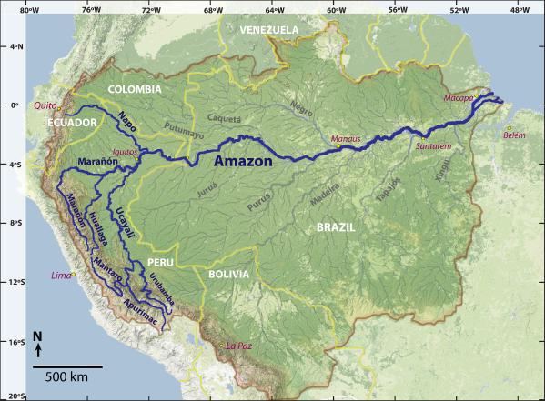 The Amazon River basin, including dark traces for each proposed source rivers: Napo, Marañón, Huallaga, Urubamba, Apurímac, and Mantaro.  Source: James Contos