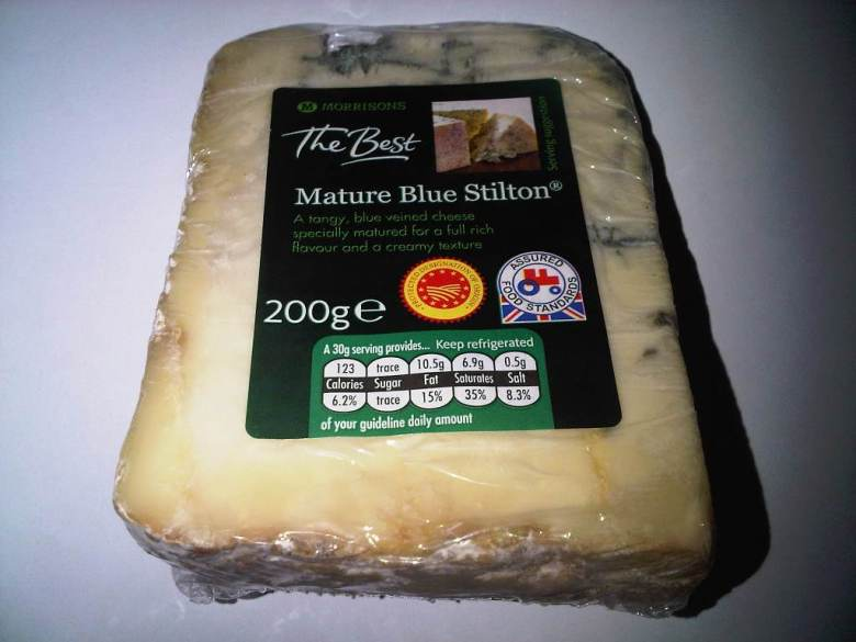 """Morrisons Mature Blue Stilton with PDO Logo.jpg"" Blue Stilton from Morrisons supermarket which displays the Protected Designation of Origin (PDO) logo (in red). Photo: Matthew J Rippon."