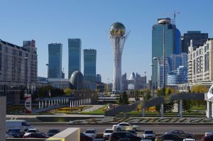Astana's futuristic city centre. © 2014 Wikimedia Commons.
