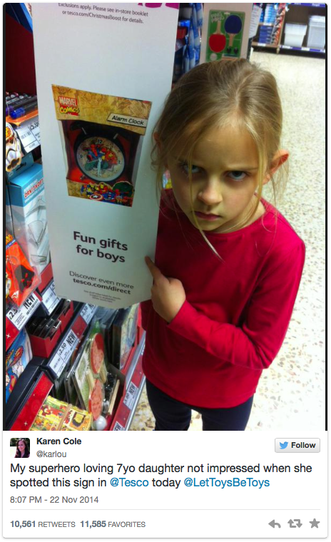 7-year-old Maggie not impressed with 'fun girts for boys' sign