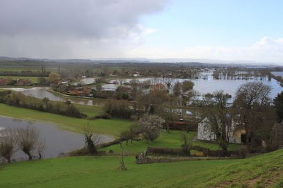 Figure 2. Flooding on the Somerset Levels, February 2014 (WikiMedia Commons, 2014)