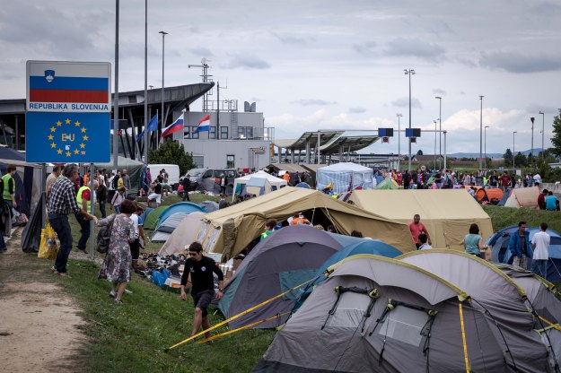 A migrant camp on the Slovenia-Croatia border, September 2015. Photographer: Elliot Graves, FOXEP