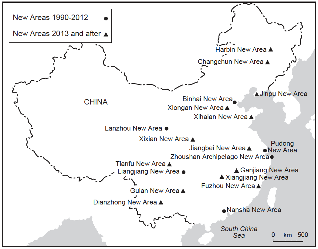 "Experimenting with change: China's ""nationally strategic new areas"", 1990-2016. Source: Reproduced from Lim (2019: 3)"
