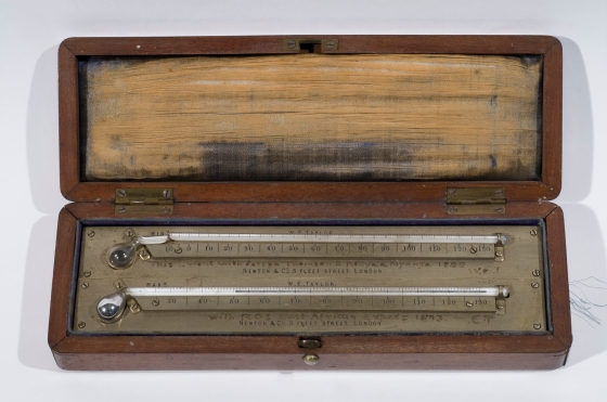 Maximum and minimum thermometers used by Joseph Thomson on the Royal Geographical Society expedition through Masailand in 1883.