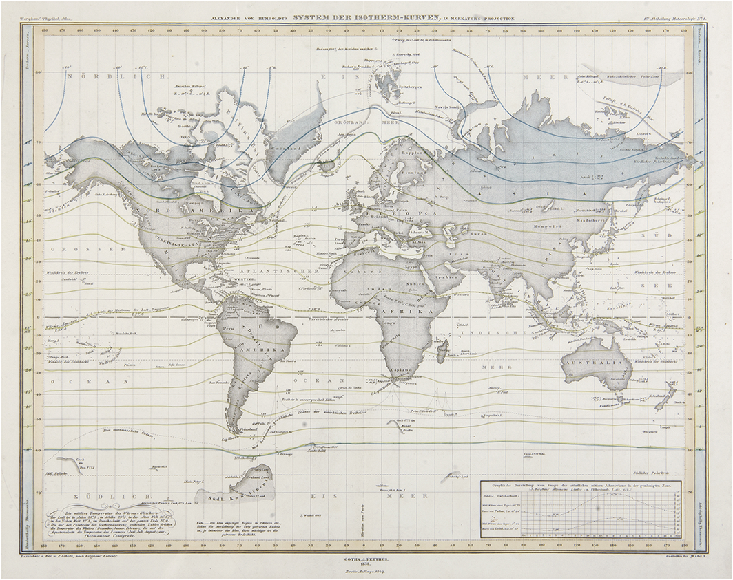 Isotherms as background for global mapping Source: H. Berghaus, 1849, Physikalischer Atlas, vol. I, plate No.1. Available at: http://cybergeo.revues.org/docannexe/image/25478/img-9.jpg
